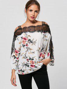 Buy Eyelash Lace Trim Floral Bohemian Blouse - WHITE 2XL