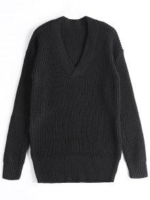 Buy Drop Shoulder V Neck Chunky Sweater - BLACK ONE SIZE