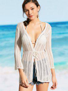 Crochet Self Tie Kimono Cover Up - Blanc