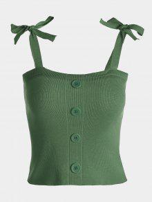 بلوزة محبوكة بأزرار مزينة بفيونكة على الكتفين - الجيش الأخضر