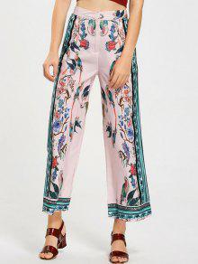Pantalon Jambes Évasées Imprimé Oiseaux Taille Haute - Rose PÂle S