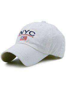 NYC Y Sombrero De Béisbol Del Bordado De La Bandera - Blanco