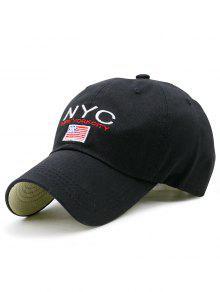 NYC Y Sombrero De Béisbol Del Bordado De La Bandera - Negro