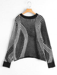 Buy Two Tone Chunky Sweater - WHITE AND BLACK ONE SIZE