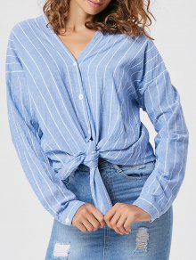Camisa A Rayas De Manga Larga De Ajuste Suelto - Azul L