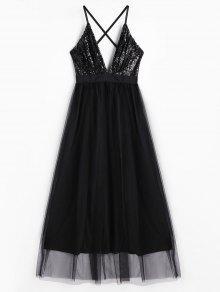 Sequins Plunge Neck Tulle Maxi Robe De Bal - Noir L