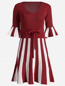 Vestido De Punto Con Rayas Y Rayas - Rojo