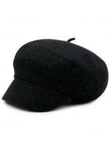 الصوف مزيج حك قبعة الصحف - أسود