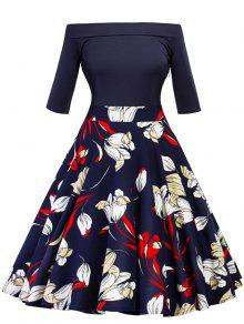 فستان بلا اكتاف طباعة الأزهار كلاسيكي متزلج - الأرجواني الأزرق 2xl