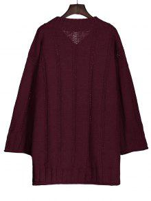 Long Sleeve Cable Knit Tunic Sweater WINE RED: Sweaters ONE SIZE ...