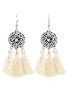 Buy Bohemian Floral Round Tassel Hook Earrings - WHITE