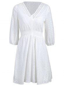 Scalloped Sheer Casual Vestido Con Cami Dress - Blanco M