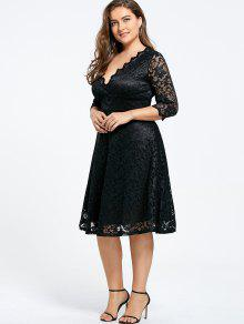 043c15f2344 36% OFF  2019 V-neck Plus Size Knee Length Formal Lace Dress In ...