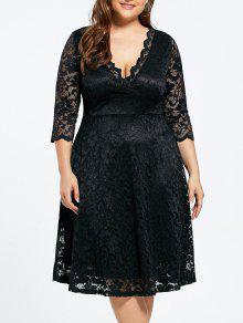 V-cuello Más Tamaño Rodilla Vestido De Encaje Formal - Negro 4xl