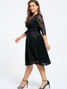 043c15f2344 36% OFF  2019 V-neck Plus Size Knee Length Formal Lace Dress In ...