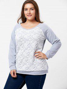 0df0941dfbb 32% OFF  2019 Plus Size Lace Panel Raglan Sleeve Pullover Sweatshirt ...