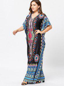 Plus size tribal print maxi dress