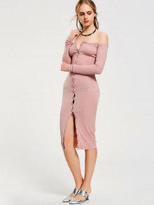 bad538a4 25% OFF] 2019 Button Up Off Shoulder Bodycon Dress In PINK   ZAFUL
