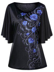 T-shirt Grande Taille à Manches Drapées Floral - Bleu 5xl