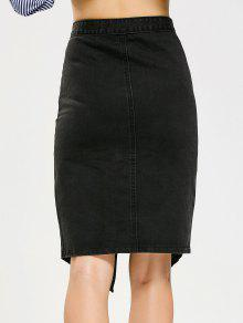 a74cd77b5 27% OFF] 2019 Asymmetrical Button Up Denim Skirt In BLACK | ZAFUL