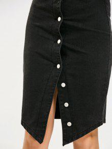 4dfd684d0a3 27% OFF] 2019 Asymmetrical Button Up Denim Skirt In BLACK   ZAFUL