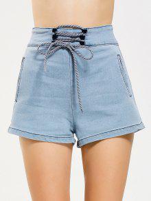 Cinturón Alto Con Cordones Jean Shorts - Denim Blue M