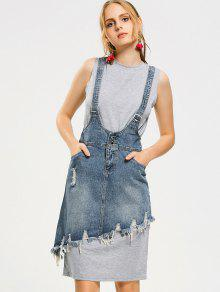 Vestido Sem Mangas E Jardineira Jeans Assimétrico E Desfiado  - Cinza Xl