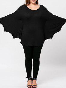 توب الحجم الكبير باتوينغ الأكمام - أسود Xl