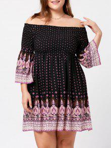 فستان الحجم الكبير طباعة هندية بلا اكتاف - أسود Xl