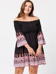 Plus Size Off The Shoulder Bohemian Dress