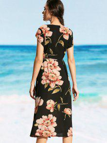 0b608a2f6bb 24% OFF  2019 Plunging Neck Floral Wrap Beach Dress In BLACK