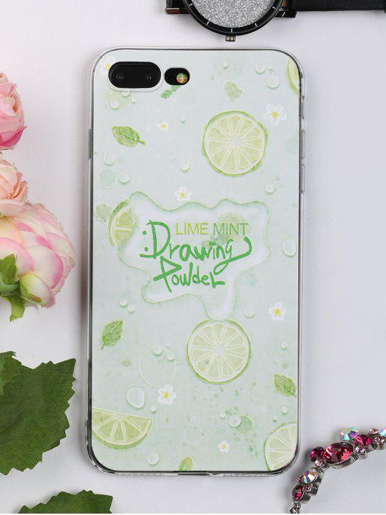 shop Fruit Pattern Soft Phone Case For Iphone - LIGHT GREEN FOR IPHONE 7 PLUS