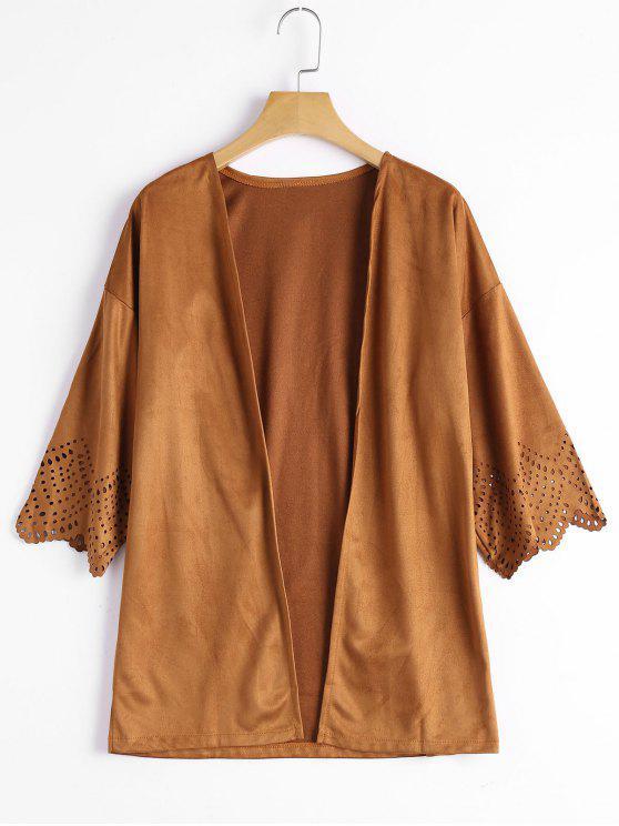 Hollow Out Faux Wildleder Kimono Top - Kamelhaarfarbe  XL