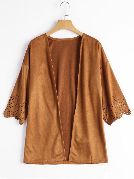 Ausgeschnitten Faux Wildleder Kimono Top - Kamelhaarfarbe  XL