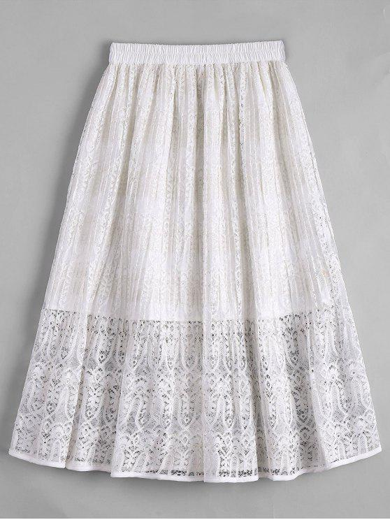 Lace Tea Length Saia alta cintura - Branco S