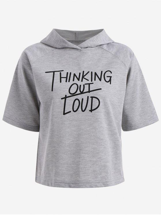 fancy Hooded Thingking Out Loud Graphic Top - FEATHER GRAY L