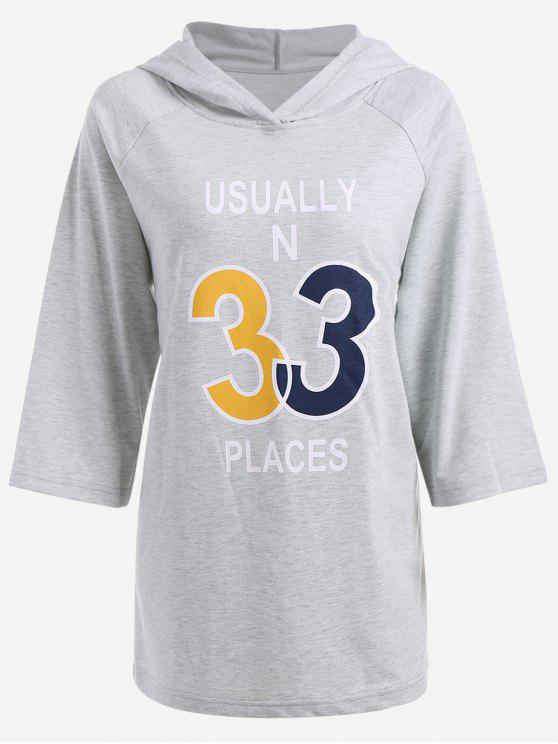 womens Oversized Graphic Hooded Top - FEATHER GRAY S