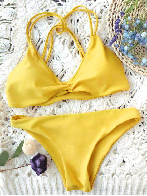 ladies Padded Strappy Knot Bikini Set - MUSTARD S