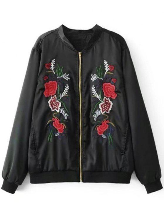 fashion Floral Embroidery Bomber Jacket - BLACK L