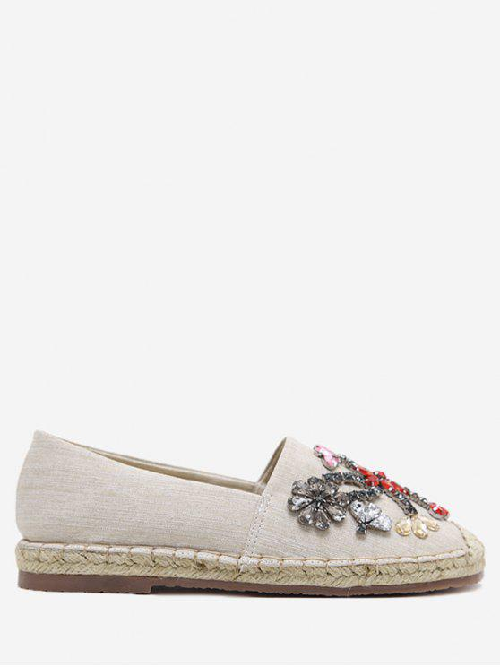 Espadrille Rhinestone Slip On Flat Shoes APRICOT