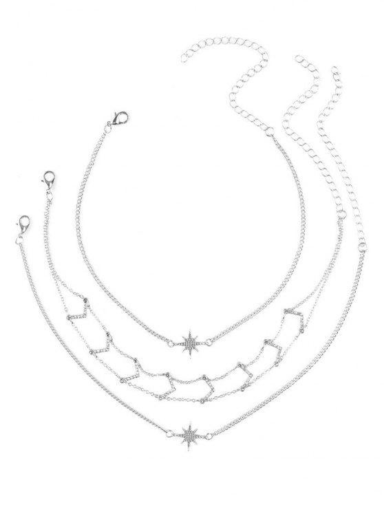 Conjunto de colar de strass Star V Collarbone - Prata