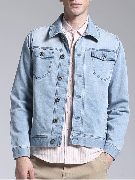 Slim Fit Button Up Denim Jacket - Bleu clair L