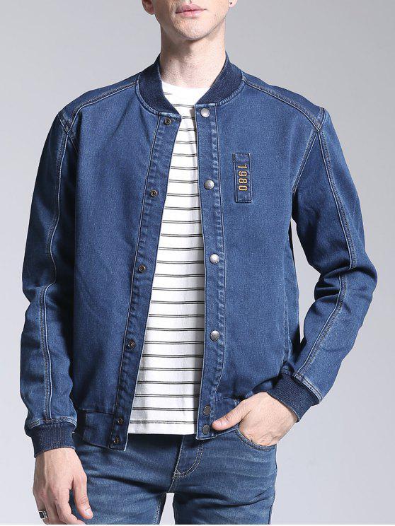 sale Patch Deisgn Stand Neck Denim Jacket - BLUE XL