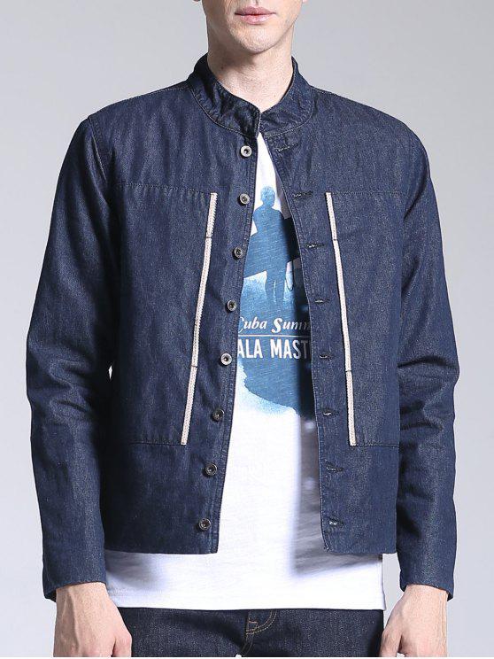 ladies Corduroy Lining Patch Design Denim Jacket - BLUE L
