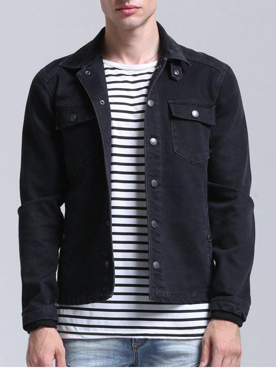 best Pockets Button Down Denim Jacket - BLACK 2XL