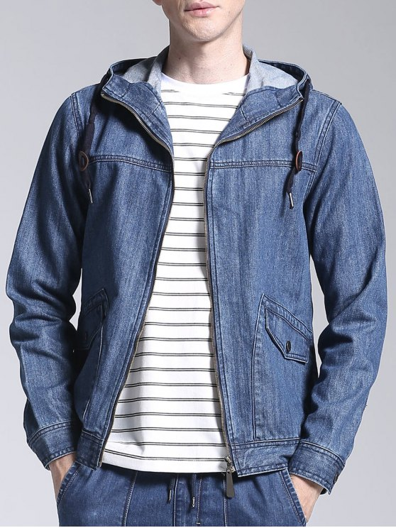 Giacca In Denim Con Cerniera E Cappuccio - Blu Denim 2XL