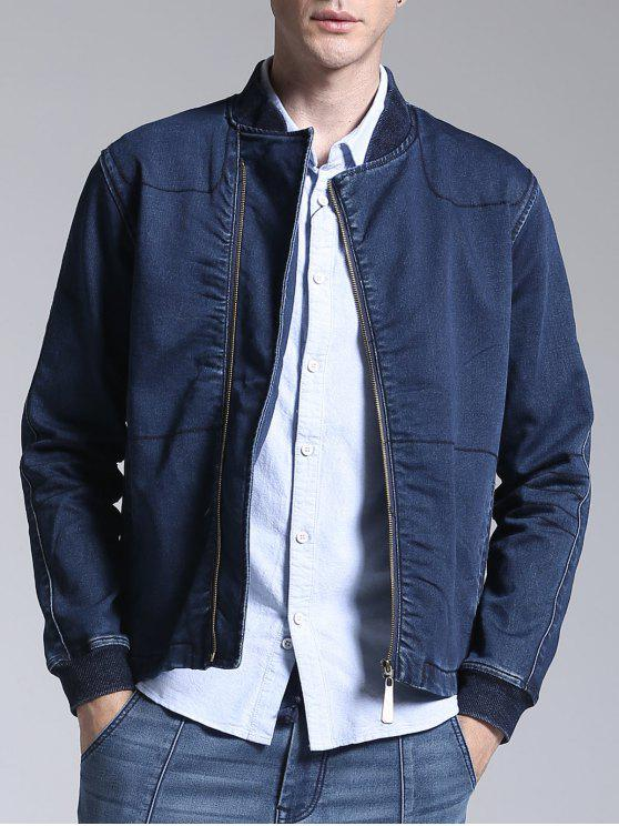 Stand Neck Zippered Denim Jacket - Azul L