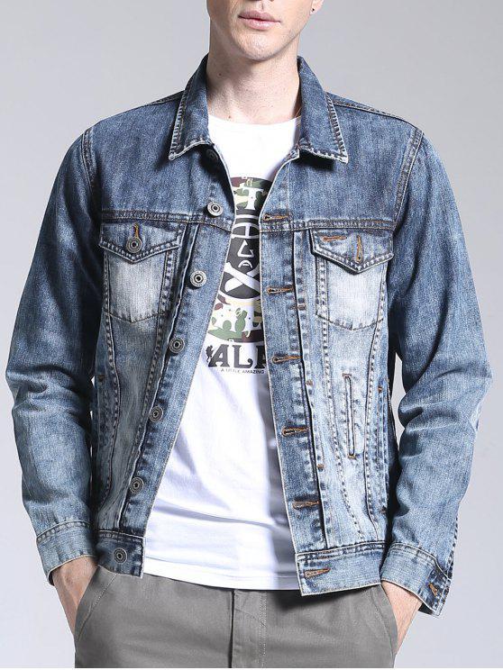 Jaqueta de lã para lavar a capa - Azul claro 3XL