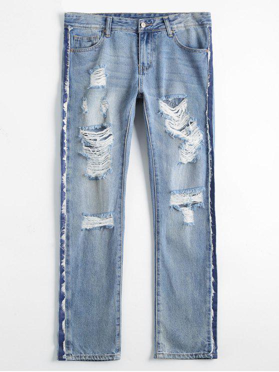Bleach Wash Destroyed Tapered Jeans - Denim Bleu 28