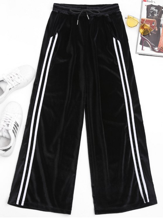 trendy Side Stripe Velvet Pants - BLACK ONE SIZE